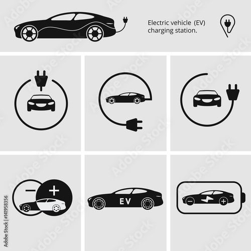 Vector Illustration Charging Station For Electric Car Icons Pin