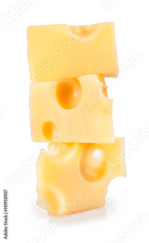 cheese pieces isolated on white
