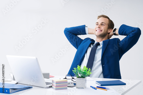 Deurstickers Ontspanning Relaxing or dreaming businessman at office