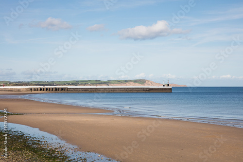 Photo  Sandy Beach and breakwater Ramsey Isle of Man