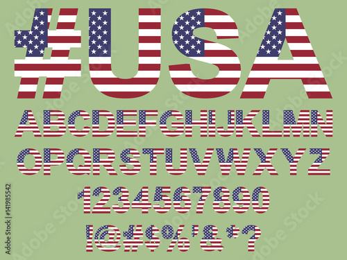 Flat Usa Flag Font Alphabet Numbers And Symbols Stylized By United States Of America For