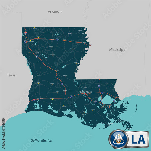 Photo Map of state Louisiana, USA