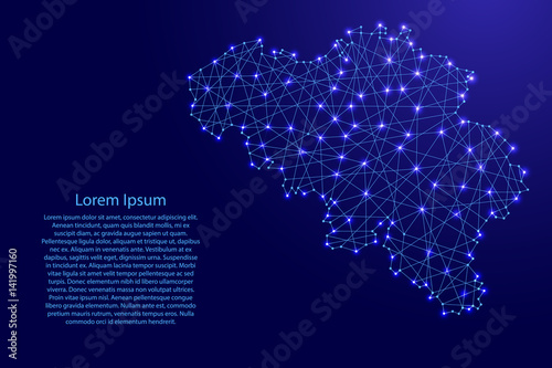 Obraz na plátně Map of Belgium from polygonal blue lines and glowing stars vector illustration