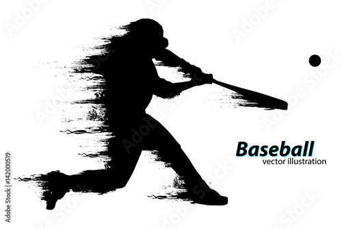 Silhouette of a baseball player. Vector illustration Canvas Print