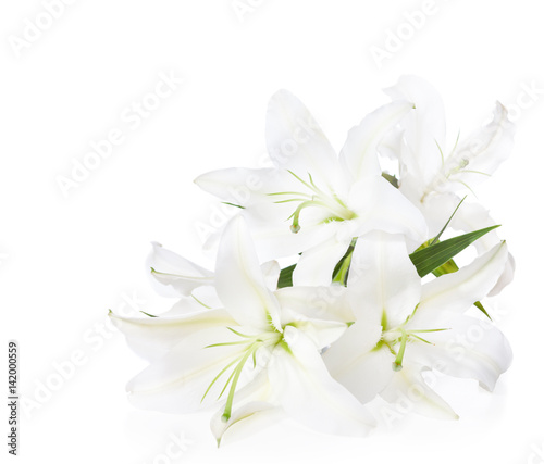 Stampa su Tela  Bouquet of white lilies  ( isolated on white background).
