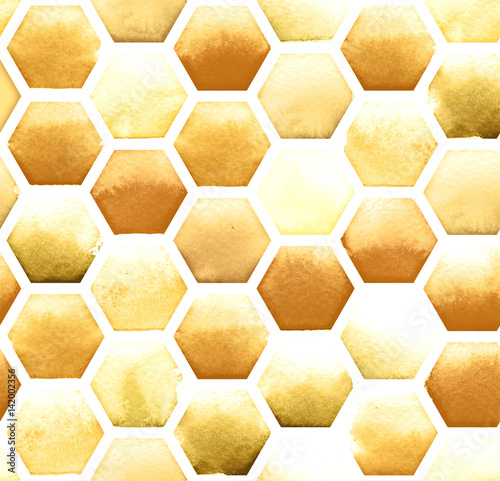 Cotton fabric Honey bee honeycomb pattern on white background. Watercolor seamless pattern