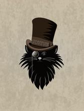Steampunk Stilyzed Cat. Template Steampunk Design For Card. Frame Steampunk Background.