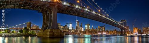 Printed kitchen splashbacks Brooklyn Bridge Manhattan and Brooklyn Bridge panorama with skyline at dusk, New York