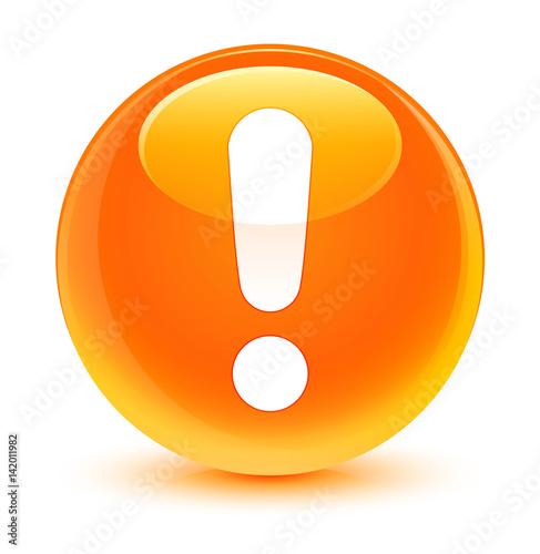 Fotografie, Obraz  Exclamation mark icon glassy orange round button
