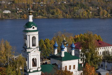 Church on the river bank in the town of Ples