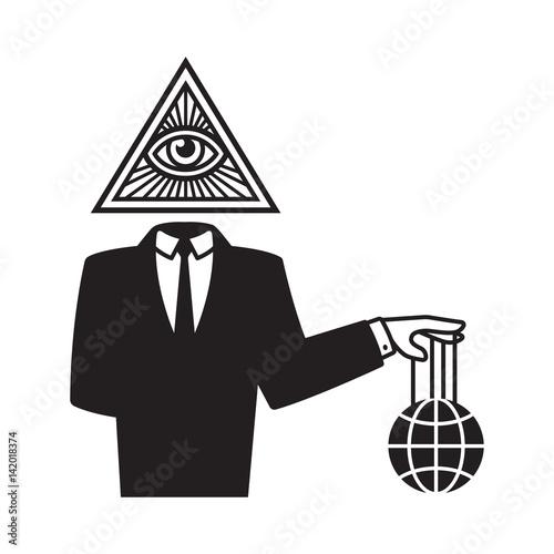 Fotografie, Obraz  Illuminati conspiracy illustration