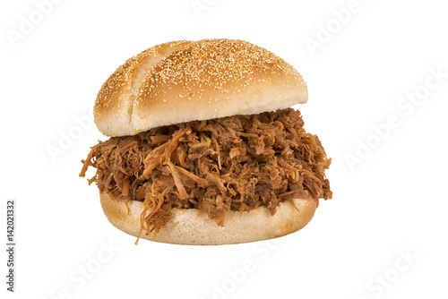 Close up on pulled pork sandwich isolated on white background. Wallpaper Mural