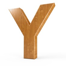 3d Rendering Wood Material Letter Y Isolated White Background
