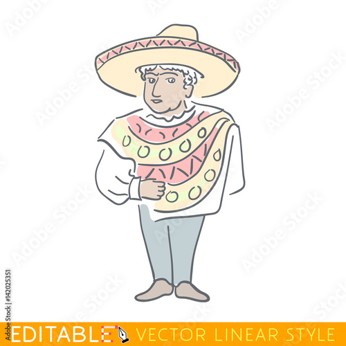 Latin man dressed in a poncho and sombrero. National character of Mexica.  Funny caricature. Editable line sketch. Stock vector illustration. 4543196b668