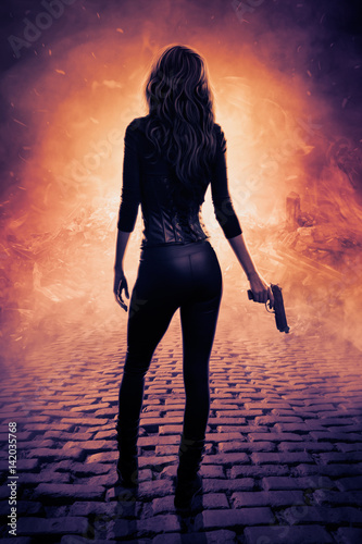 Photo Sexy female assassin with gun digital art
