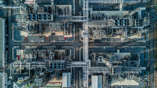 Valokuva  Aerial view oil refinery, refinery plant, refinery factory