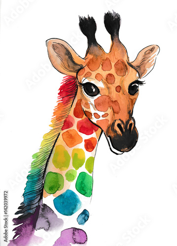 Fotografie, Obraz  Colorful giraffe