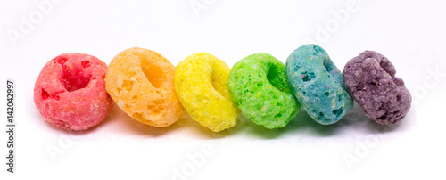 Vászonkép Banner of Colorful Cereal Arranged in Rainbow Color Order