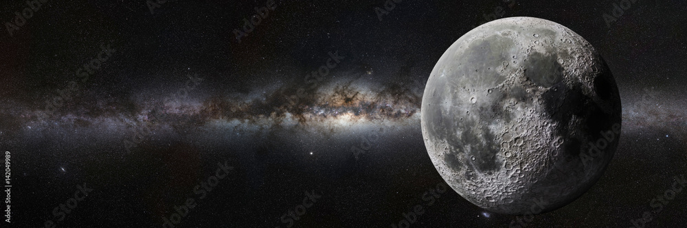 Fototapety, obrazy: Moon in front of the Milky Way galaxy