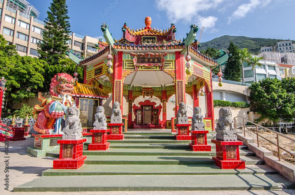 Fotografie, Tablou  Chinese pavilion in Kwan Yin Temple on Repulse Bay, Hong Kong..