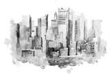 Fototapeta Nowy York - watercolor drawing of New York cityscape, USA. Manhattan aquarelle painting