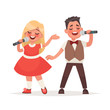Boy and a girl sing a song into a microphone. Children's musical duo. Vector illustration in cartoon style