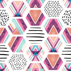 Fototapeta Watercolor hexagon seamless pattern with geometric ornamental elements