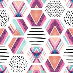 FototapetaWatercolor hexagon seamless pattern with geometric ornamental elements