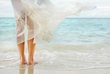 White Dress Waving On Seaside ...