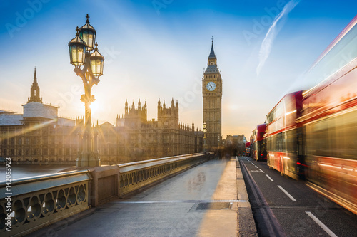 фотография London, England - The iconic Big Ben and the Houses of Parliament with lamp post