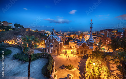 Foto op Canvas Barcelona  Barcelona, Catalonia, Spain: the Park Guell of Antoni Gaudi at sunset