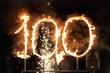 Leinwanddruck Bild - Burning number one hundred,sparks number 100, hot 100