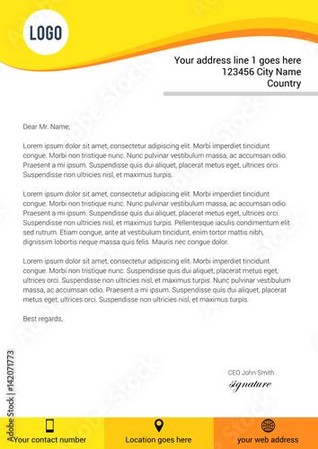 Fototapeta Modern yellow flat style letterhead template obraz