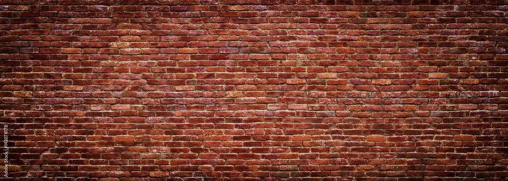 Fototapeta panoramic view of masonry, brick wall as background