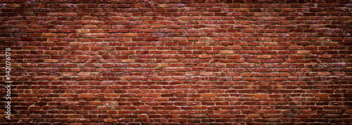 Poster Brick wall panoramic view of masonry, brick wall as background