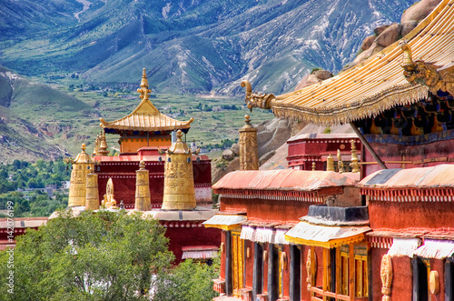 Ancient temples. Sera monastery near Lhasa, Tibet Fototapeta
