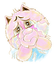 Cat Acting Pleading And Crying Pencil Color