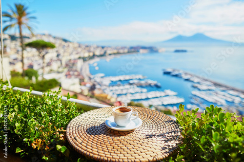 Fototapety, obrazy: Cup of coffee with view on Vesuvius mount in Naples