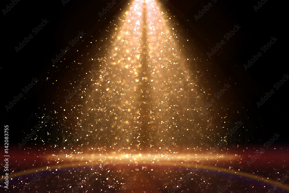 Fototapety, obrazy: Stage light and golden glitter lights on floor. Abstract gold background for display your product. Spotlight realistic ray