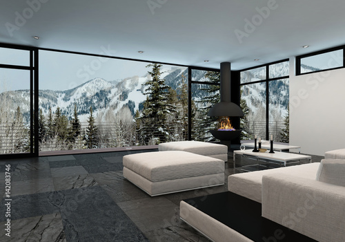 minimalist luxury home interior in the mountains buy this stock
