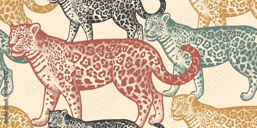 Seamless pattern with animal Jaguar. Canvas Print