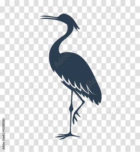 Cuadros en Lienzo silhouette heron, stork, bird black