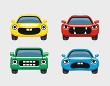 Car Emoticon, Colorful Expressive Funny Car Face Character, Smiles Icons Set