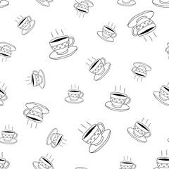 Fototapeta Do kawiarni Coffee seamless pattern in doodle style.