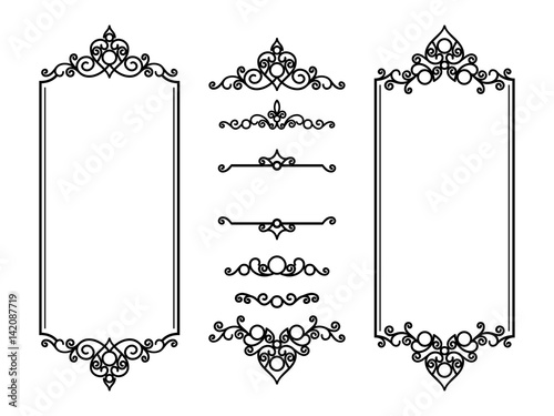 Vintage curly frames and vignettes on white Fototapeta