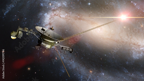 Tela Voyager spacecraft in front of a galaxy and a bright nearby star in deep space