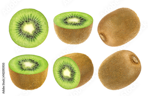 Isolated kiwi fruit. Collection of whole and cut kiwi isolated on white background with clipping path.