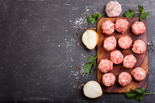 Fresh Raw Meatballs With Vegetables