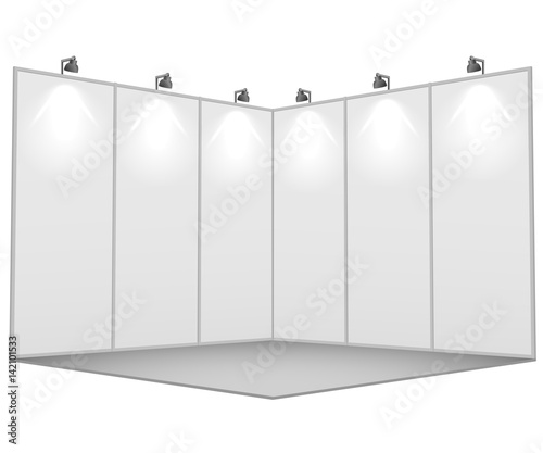 Obraz na plátně Blank white exhibition stand 3x3 sections vector template.