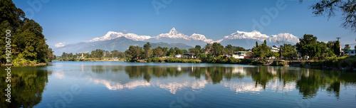View at Annapurna mountain range and its reflection in Phewa lake in Pokhara, Ne Wallpaper Mural